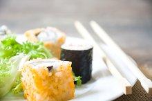 Sushi. Salmon and caviar rolls