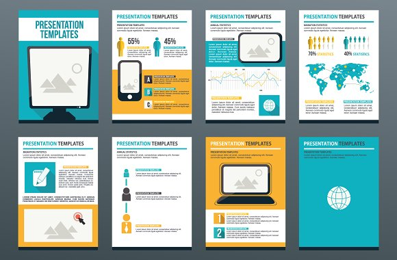Set of 8 templates for presentation