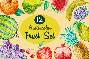 12 Watercolor Low Poly Fruit Set