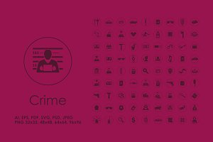 81 Crime simple icons