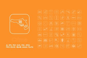 56 Crime simple icons