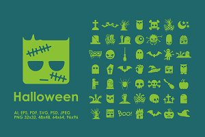 49 Halloween simple icons
