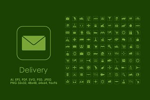 110 Delivery simple icons