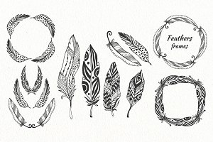 Boho Feathers clipart&patterns