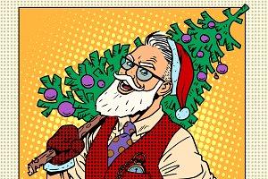 Hipster Santa Claus Christmas tree