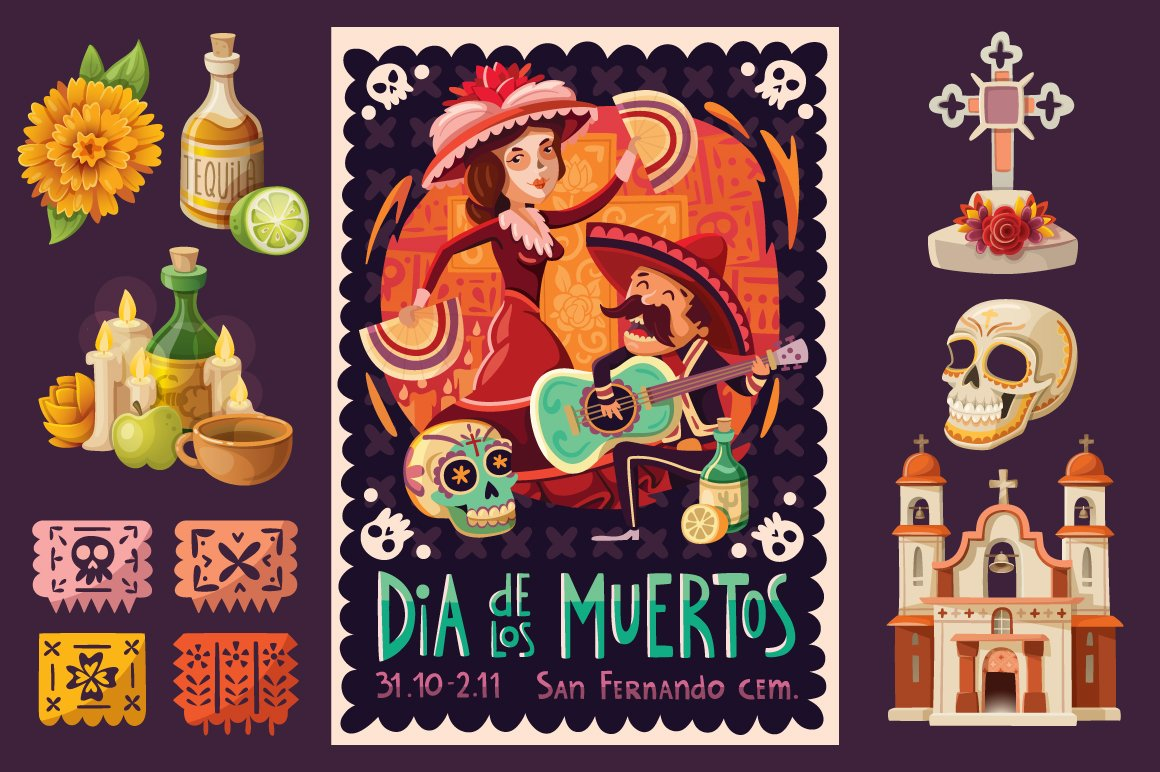 Day of the Dead Poster and Elements | Custom-Designed ...