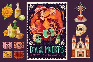 Day of the Dead Poster and Elements
