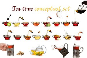 Tea time concept set