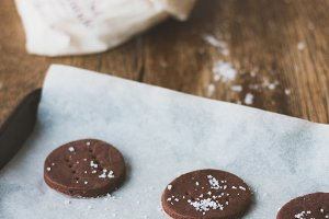 Making sea salt chocolate biscuits