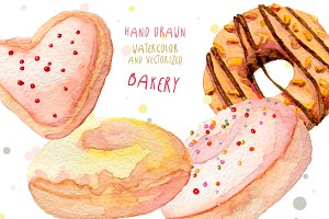 Watercolor hand drawn baked sweets