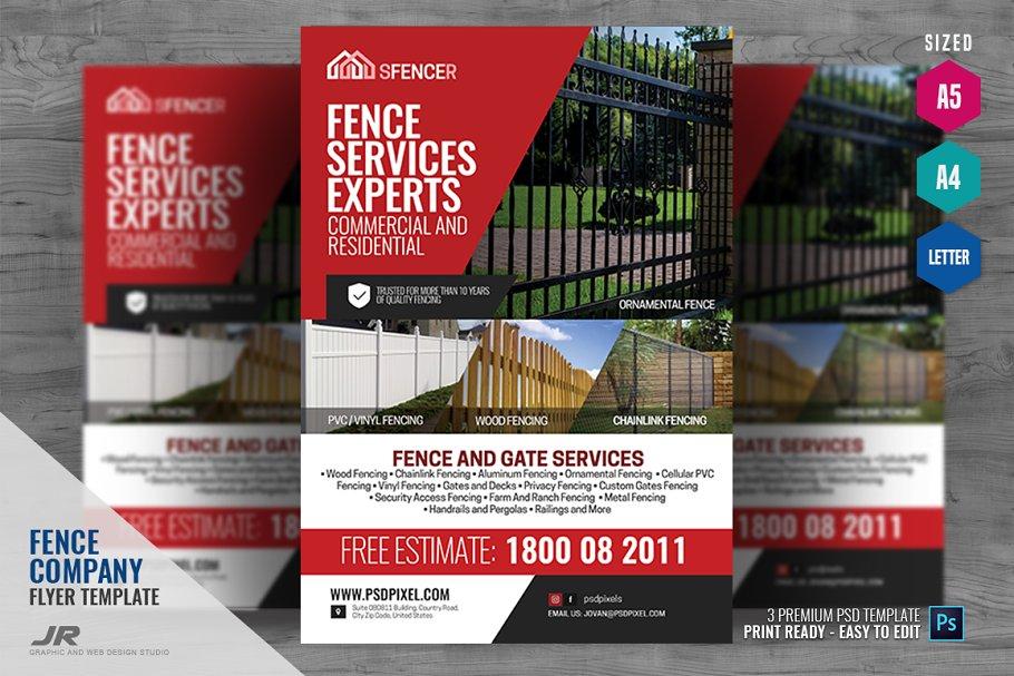 Fencing Company Flyer ~ Flyer Templates ~ Creative Market