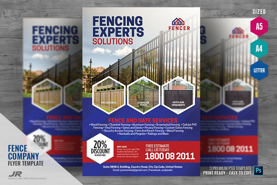 Fence and Gates Services Flyer ~ Flyer Templates ~ Creative