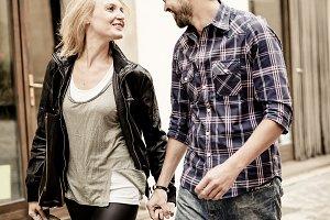Lovers walking outdoor