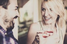 Couple flirting in a Bar