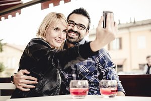 Couple using a mobile phone