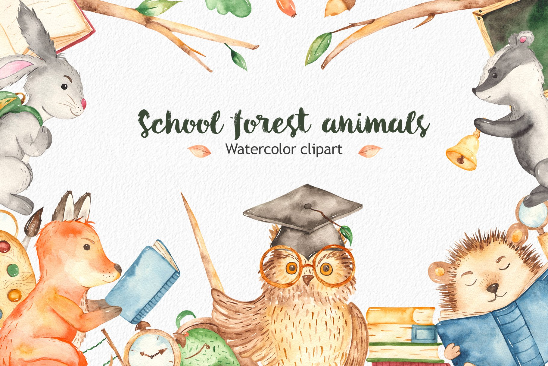 School forest animals Watercolor | Pre-Designed Photoshop Graphics ~ Creative  Market