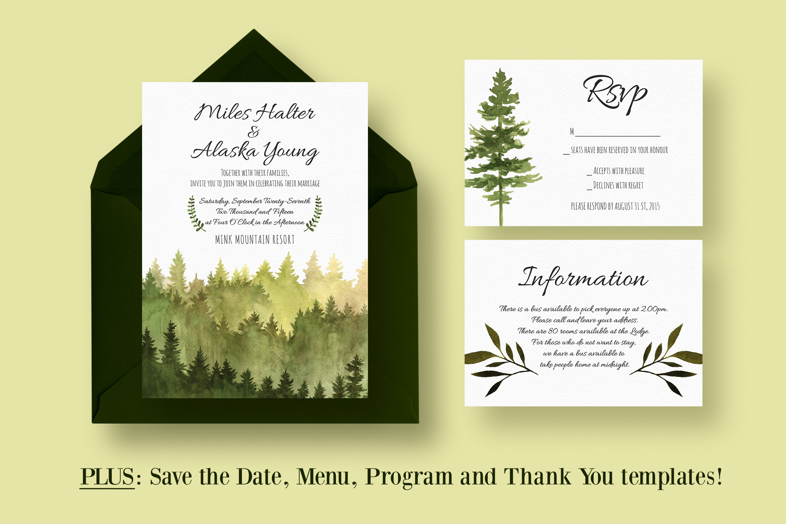 In the Woods Wedding Suite ~ Invitation Templates ~ Creative Market