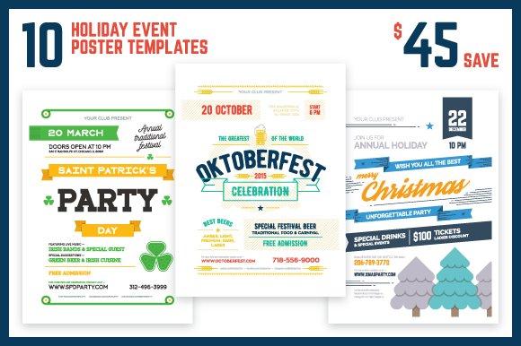 Holiday Event Poster Bundle Flyer Templates Creative Market