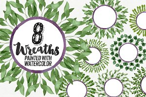 8 Watercolor Leaves Wreaths