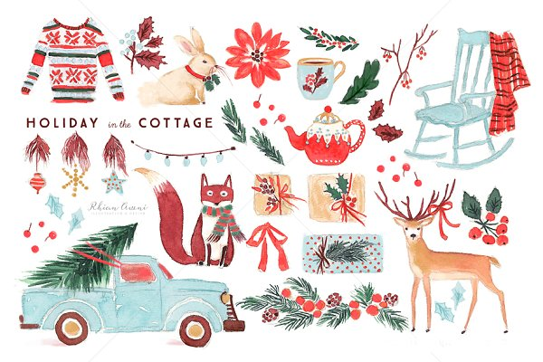 Watercolor Holiday Clip Art Set