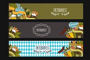 Oktoberfest doodle beer web banner