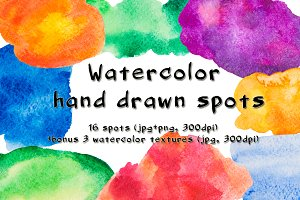 Bright watercolor hand drawn spots
