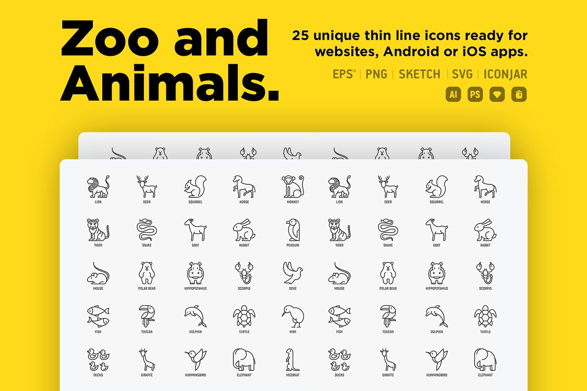Zoo & Animals | 25 Thin Line Icons