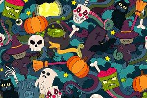 Halloween doodle vector seamless