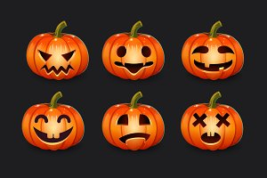Set of Halloween pumpkin emotions