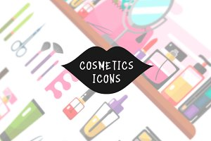 Cosmetics Icons Set Vector