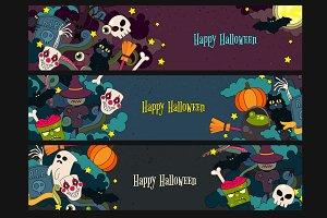 Happy Halloween vector web-banners