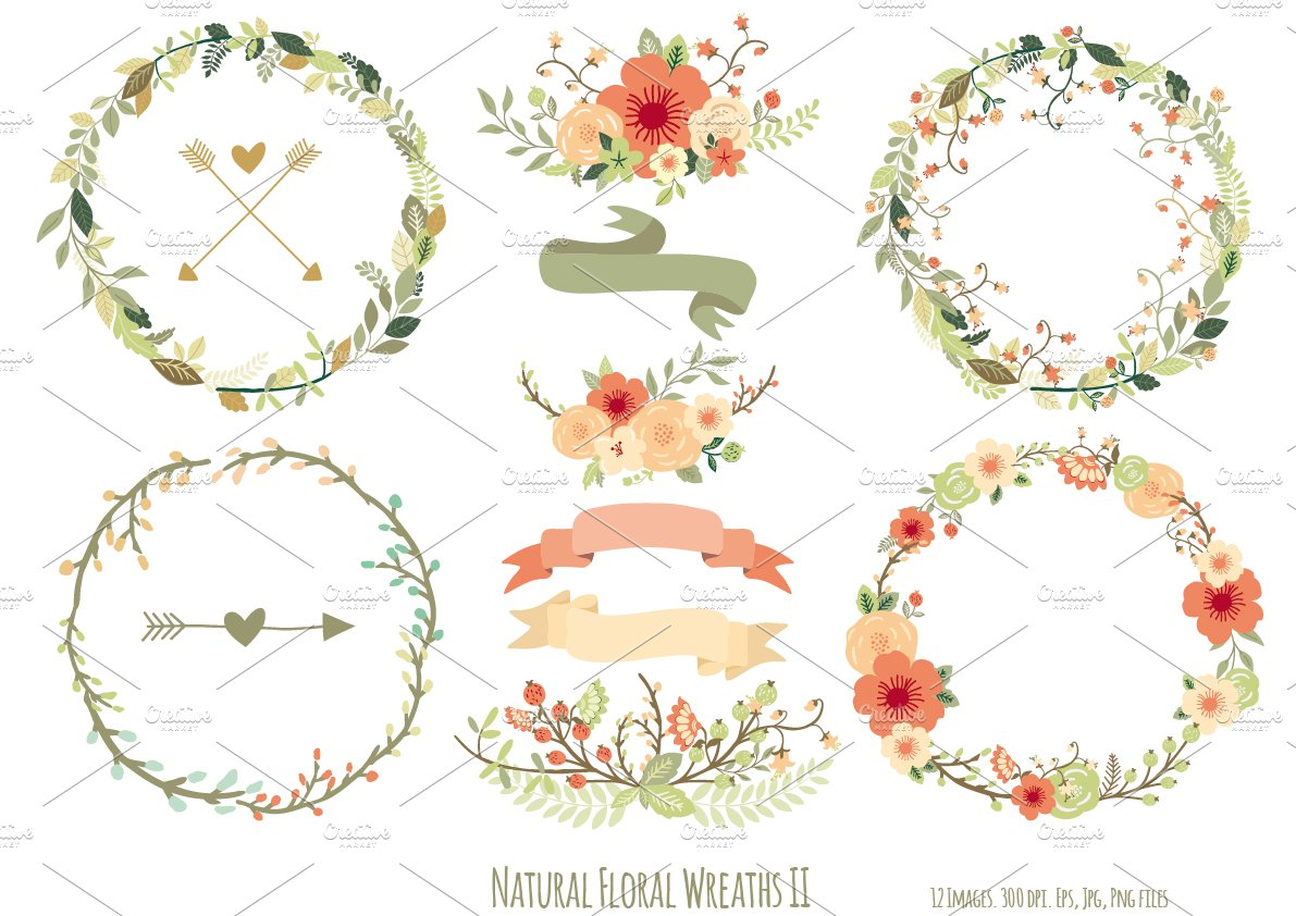 Natural Floral Wreaths II ~ Illustrations ~ Creative Market