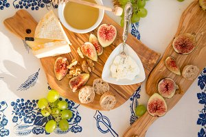 Figs, cheese, grapes and honey