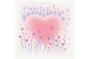 Flower and heart shape background