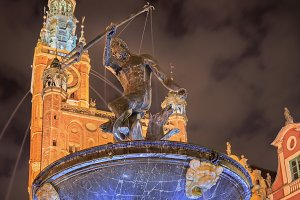 Neptune fountain in Gdansk at night