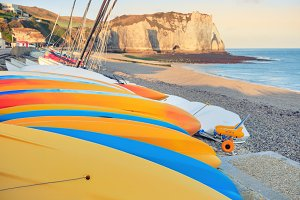 Morning view of Etretat beach