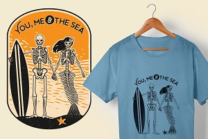 Skeleton Surfer and Mermaid