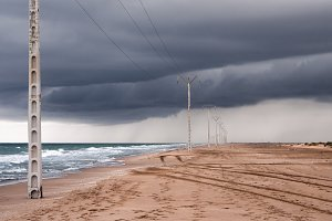 Storm clouds on the beach