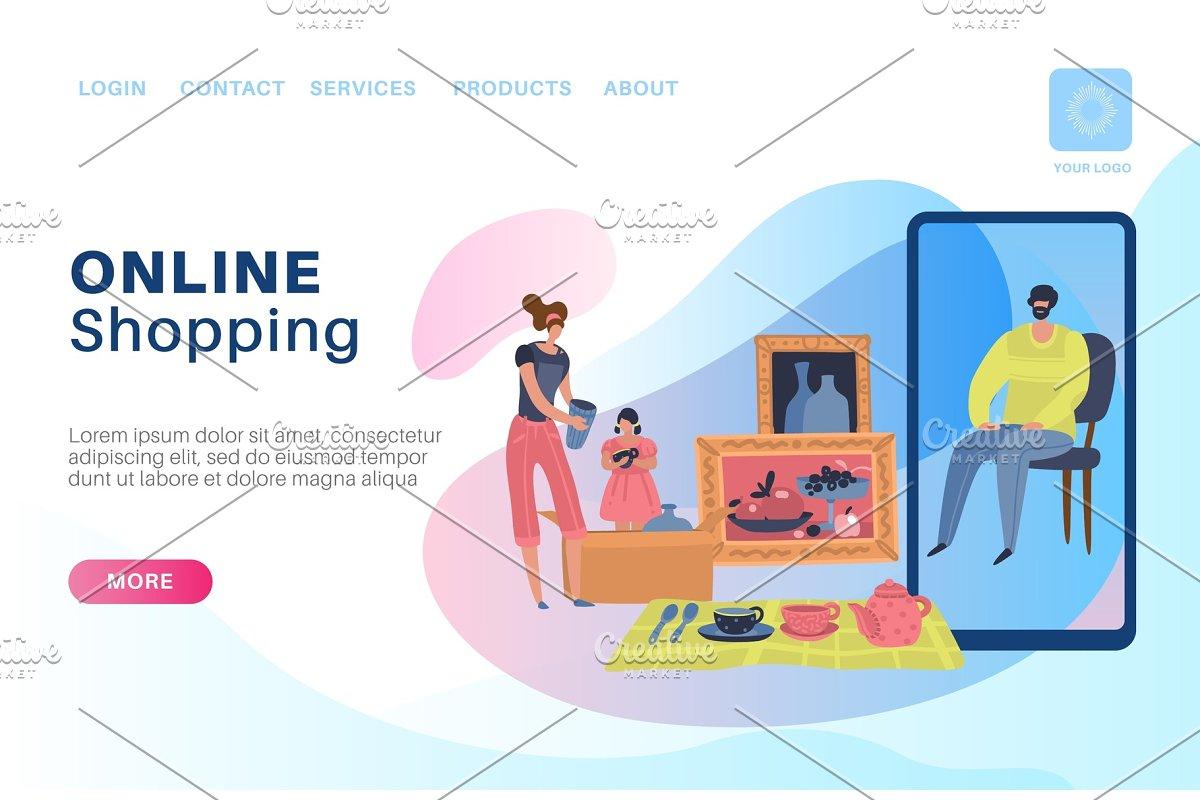 Online shopping landing  customer