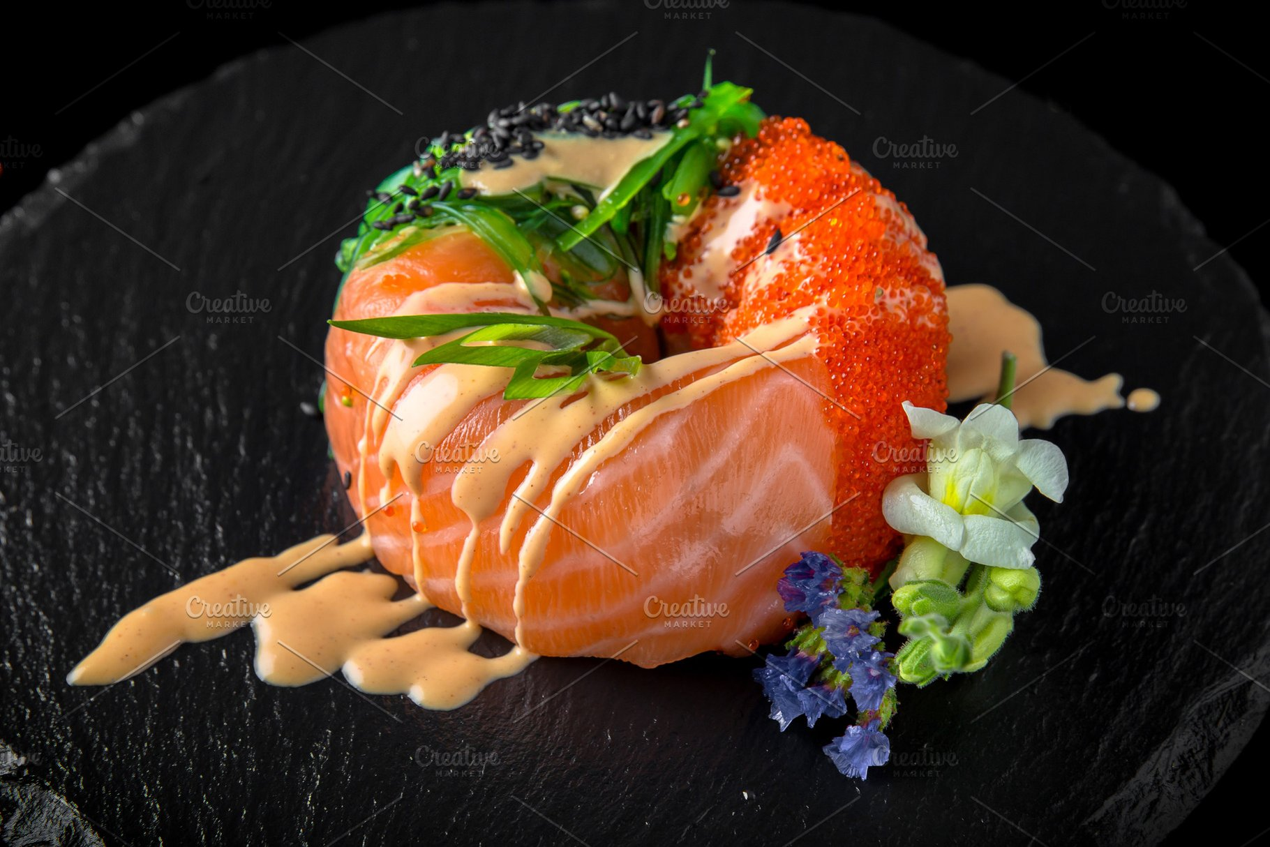 4196fd957a01 Sushi donuts from with salmon,