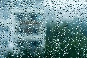 Rainy window, blurry view