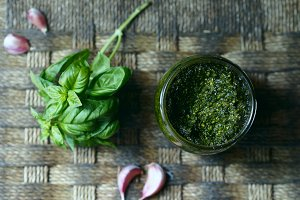 Home made pesto in a glass jar