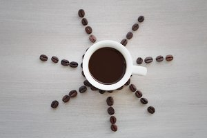 Sunny cup of coffee