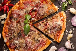 pizza with bacon and mushroom