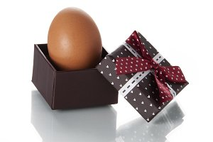 Egg in gift box