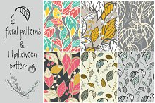 6 floral patterns & 1 Halloween