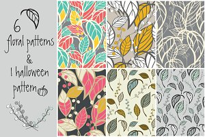 6 floral patterns & 1 Halloween