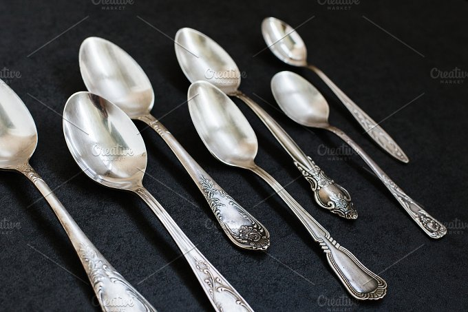 Silver spoons. Shot at angle - Food & Drink