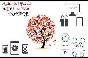 Autumn icon bundle of e-commerce