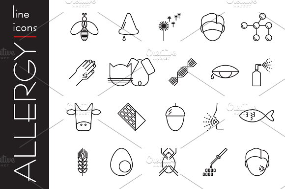 Allergy line icons. Allergens.Vector - Logos